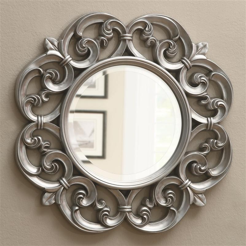 Silver fleur de lis ornate round wall mirror by coaster for Round silver wall mirror