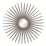 Sun Shaped Wall Mirror in Antique Silver Finish by Coaster - 901731