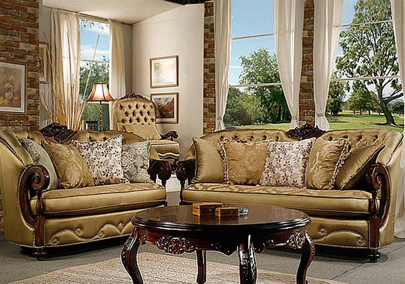 Emilia golden fabric cherry finish 2 piece set by homey for Hd designs home decor