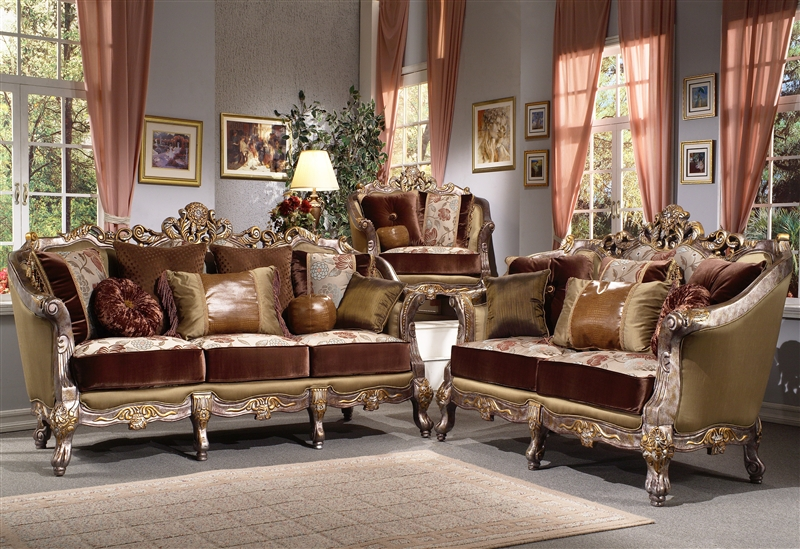Ocana silver 2 piece living room set by homey design hd 9668 for Drawing room farnichar