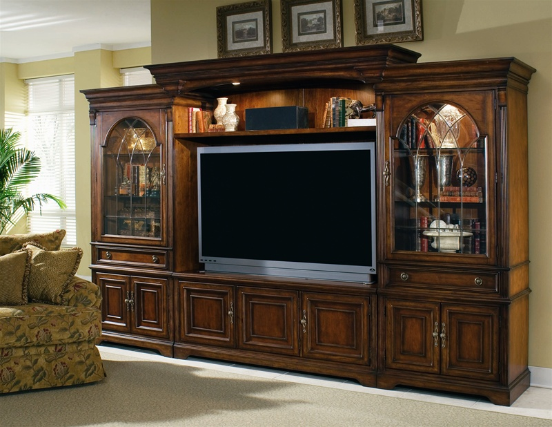 Brookhaven 65 Inch Tv Home Theater Wall Unit In Distressed