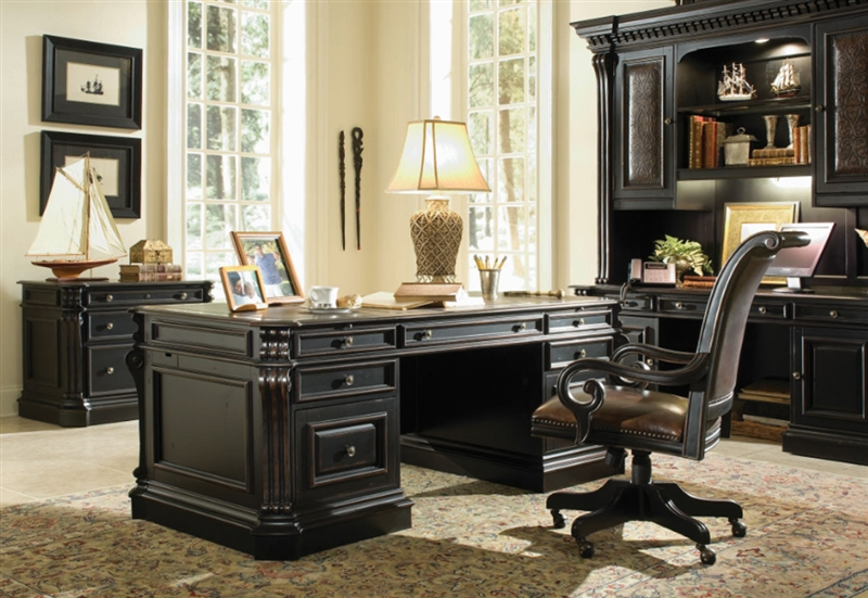 Executive Desk With Wood Panels By Hooker Furniture HF 370 10 563