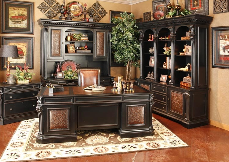 Telluride 71 inch entertainment console with hutch in Executive home office ideas