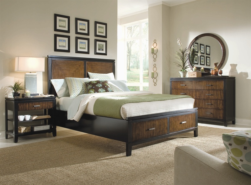 Kinston Storage Platform Panel Bed 6 Piece Bedroom Set In Black And Brown Two Tone Finish By
