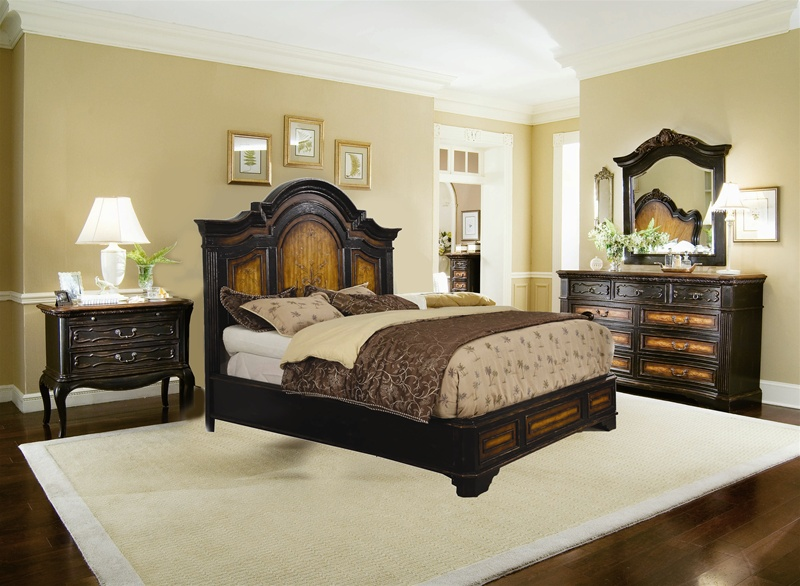 North Hampton Platform Bed 6 Piece Bedroom Set In Two Tone Finish By