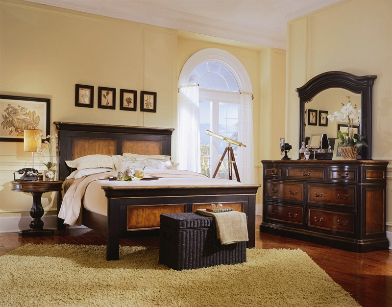 Preston Ridge Panel Bed 6 Piece Bedroom Set In Two Tone