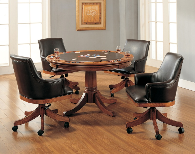 park view barrel back 5 piece game table set in medium brown oak finish by  hillsdale furniture 41865b