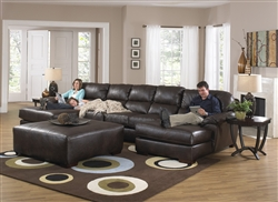 Lawson 3 Piece Sectional in Chocolate Leather by Jackson - 4243-003