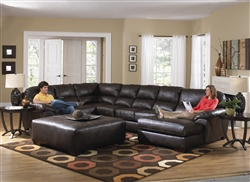 Lawson 3 Piece Sectional in Chocolate Leather by Jackson - 4243-3