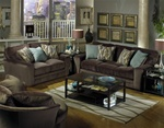 Whitney 2 Piece Sofa, Loveseat Set in Chocolate Fabric by Jackson - 4397-2
