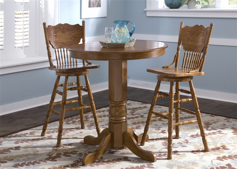 nostalgia round pub table 3 piece dining set with 30 inch press back