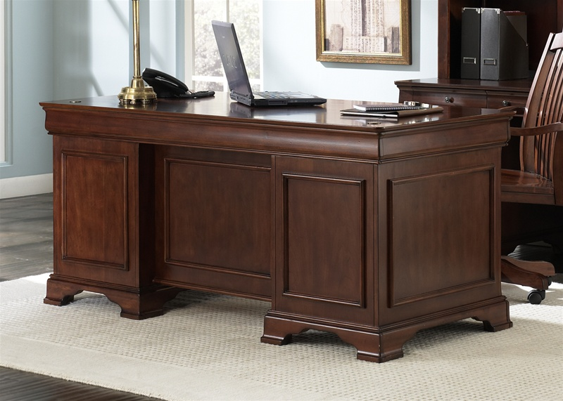 Louis Jr Executive Home Office Desk In Deep Cherry Finish