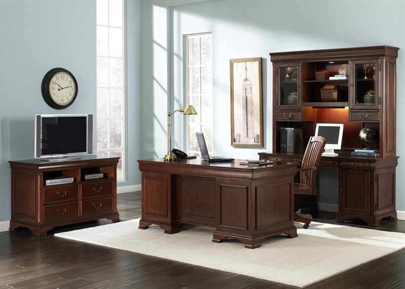 louis jr executive 5 piece home office set in deep cherry finish by liberty furniture 101 hoj home office furniture cherry finished