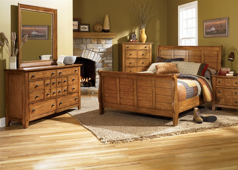 Grandpa s Cabin Sleigh Bed 6 Piece Bedroom Set in Aged Oak