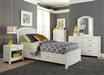 Avalon Youth Upholstered Storage Bed Bedroom Set in White Truffle Finish by Liberty Furniture - 205-YBR-T1S