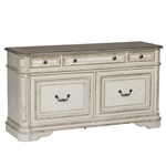 Magnolia Manor Credenza File Cabinet in Antique White Finish by Liberty Furniture - 244-HO121