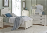 Bayside Arched Panel Bed 4 Piece Youth Bedroom Set in Antique White Finish by Liberty Furniture - 249-YBR