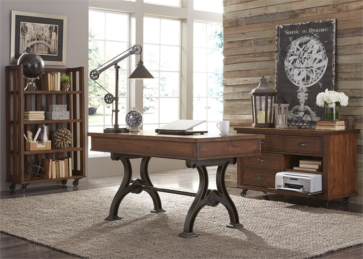 arlington house 3 pc home office set in cobblestone brown finish by liberty furniture 411 brown finish home office