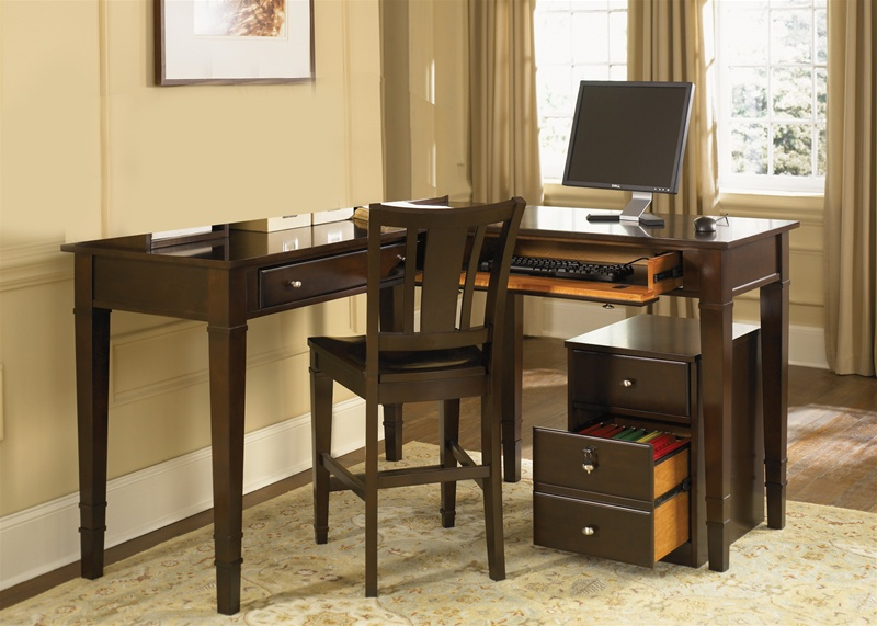 ... Counter Height Home Office Desk in Merlot Finish by Liberty Furniture