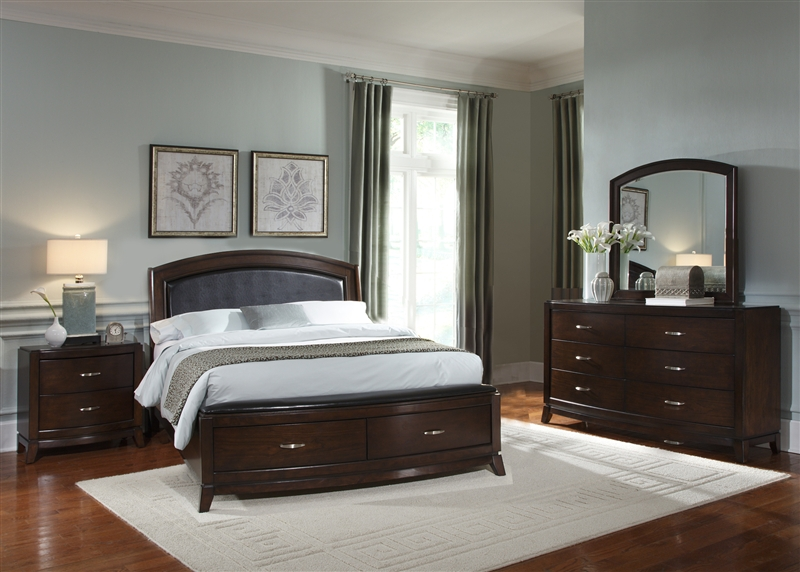 Avalon Storage Bed 6 Piece Bedroom Set In Dark Truffle
