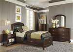 Avalon Youth Upholstered Storage Bed Bedroom Set in Dark Truffle Finish by Liberty Furniture - 505-YBR-T1S