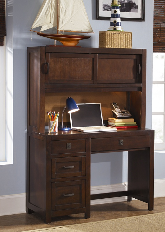 cooper 39 s creek student desk hutch in rustic brown finish by liberty furniture 506 br70bh. Black Bedroom Furniture Sets. Home Design Ideas