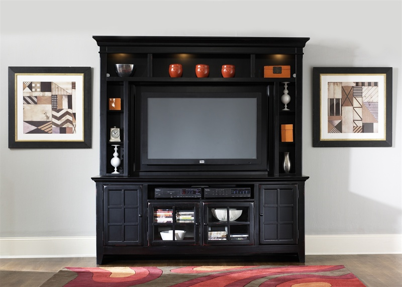 new generation 50 inch tv entertainment center in rubbed black finish by liberty furniture 540 ent. Black Bedroom Furniture Sets. Home Design Ideas