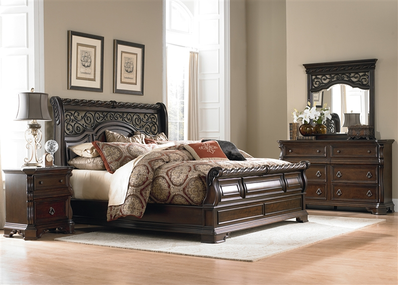 Arbor place sleigh bed 6 piece bedroom set in brownstone for Bedroom 6 piece set