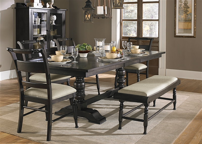 Whitney 6 piece dining set in black cherry finish by for Black and white dining set