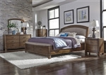 Avalon Upholstered Storage Bed 6 Piece Bedroom Set in Pebble Brown Finish by Liberty Furniture - 705-BR-23HU