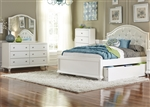 Stardust 5 Piece Youth Trundle Bedroom Set in Iridescent White Finish by Liberty Furniture - 710-YBR-TTR