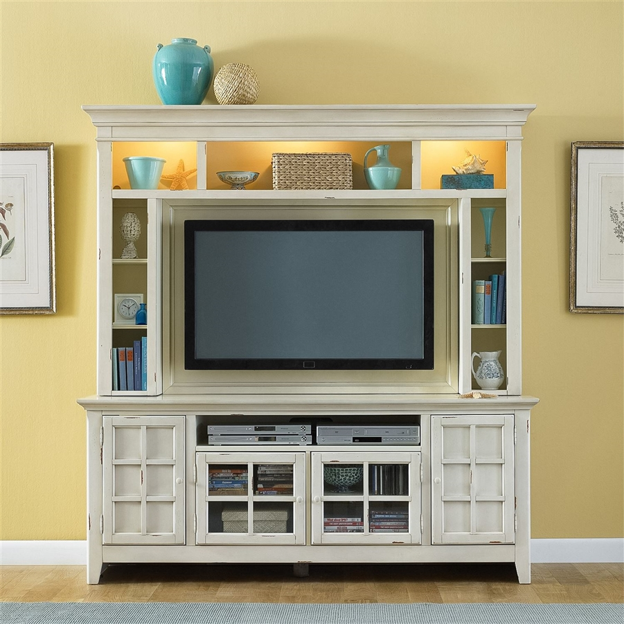 new generation 50 inch tv entertainment center in vintage white finish by liberty furniture. Black Bedroom Furniture Sets. Home Design Ideas