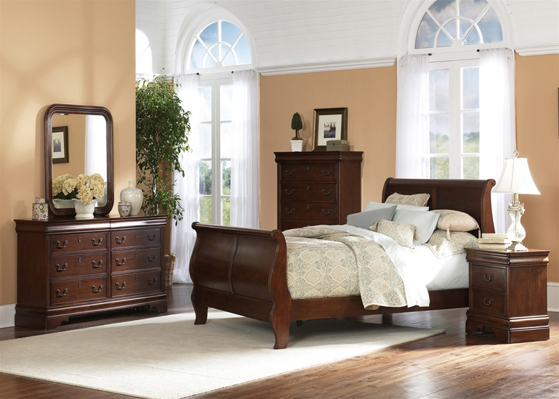 Louis Philippe Sleigh Bed 6 Piece Bedroom Set In Brown Cherry Finish By Liber