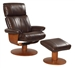 Oslo Nora Air Chamber Massage 2 Piece Swivel Recliner Espresso Leather / Walnut Frame by MAC Motion Chairs Nora-E
