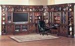 Barcelona 11-Piece Library Wall with Writing Desk and 50-Inch TV Entertainment in Dark Red Walnut Finish by Parker House - BAR-401-11