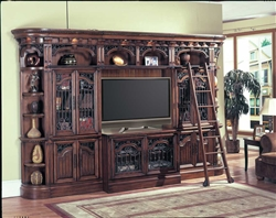 Barcelona 6 Piece 50-Inch TV Entertainment Wall in Dark Red Walnut Finish by Parker House - BAR-401-6