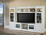 Hartford 48-72-Inch TV X-pandable Entertainment Console 4Pc Wall System in Slightly Distressed Vintage White Finish by Parker House - HAR100-4X