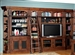 Leonardo 8 Piece Entertainment Bookcase Library Wall in Antique Vintage Dark Chestnut Finish by Parker House - LEO-490-2-8