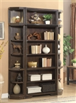 Meridien 3 Piece Bookcase Library Wall in Burnished Dark Ash Finish by Parker House - MER-432-03