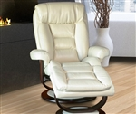 Triton Swivel Recliner and Ottoman in Cream Synthetic Leather Upholstery by Parker House - MTRI-212S-CR