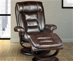 Triton Swivel Recliner and Ottoman in Nutmeg Synthetic Leather Upholstery by Parker House - MTRI-212S-NU