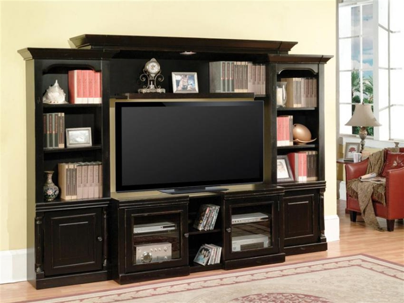 avelino 43 60 inch tv 4 piece expendable premier wall unit in vintage black finish by parker. Black Bedroom Furniture Sets. Home Design Ideas