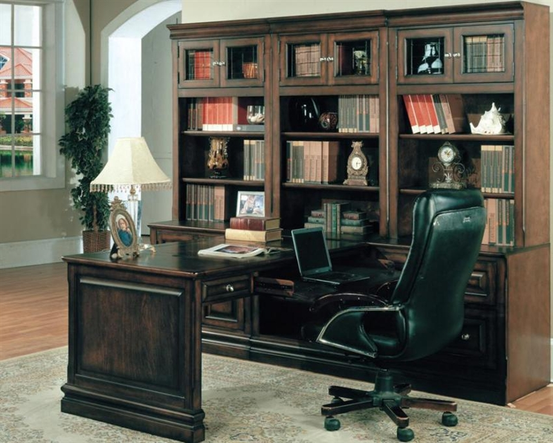 Sterling 7 Piece Peninsula Desk Home Office Set In Espresso Finish By Parker House Ste 505 7