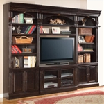 Venezia 4 Piece 50-Inch TV Console Bookcase Entertainment Library Wall in Vintage Burnished Black Finish by Parker House - VEN-401-4