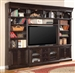 Venezia 4 Piece 60-Inch TV Console Bookcase Entertainment Library Wall in Vintage Burnished Black Finish by Parker House - VEN-402-4