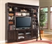 Venezia 4 Piece 50-Inch TV Console Bookcase Entertainment Library Wall in Vintage Burnished Black Finish by Parker House - VEN-411-4