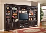 Venezia 6 Piece 50-Inch TV Console Bookcase Entertainment Library Wall in Vintage Burnished Black Finish by Parker House - VEN-411-6