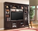 Venezia 4 Piece 60-Inch TV Console Bookcase Entertainment Library Wall in Vintage Burnished Black Finish by Parker House - VEN-412-4