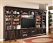 Venezia 6 Piece 60-Inch TV Console Bookcase Entertainment Library Wall in Vintage Burnished Black Finish by Parker House - VEN-412-6
