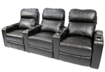 Tahoe Theater Seating - 3 Black Leather Chairs By SeatCraft 12003 - Power Recline